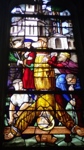 Peter's Cricifixion Notre Dame Stained Glass