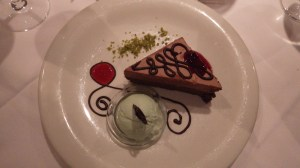 Chocolate Mousse Tart with Pistachio Ice Cream