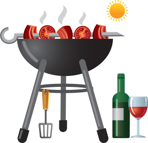 Grill and wine