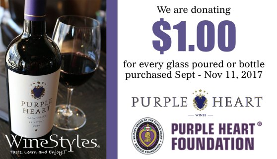 $1 donated for each glass or bottle of Purple Heart Wines to Purple Heart Foundation