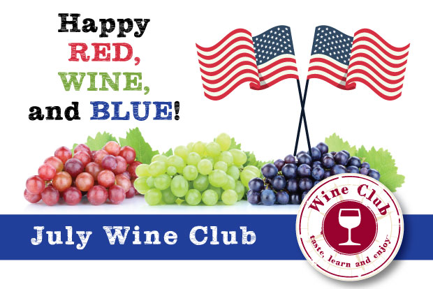July Wine Club with red grapes, white grapes and blue grapes and American Flag