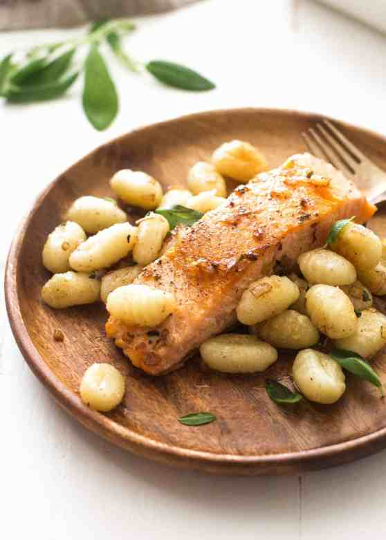 Pan-Seared-Salmon-and-Gnocchi-with-Sage-Butter-Sauce