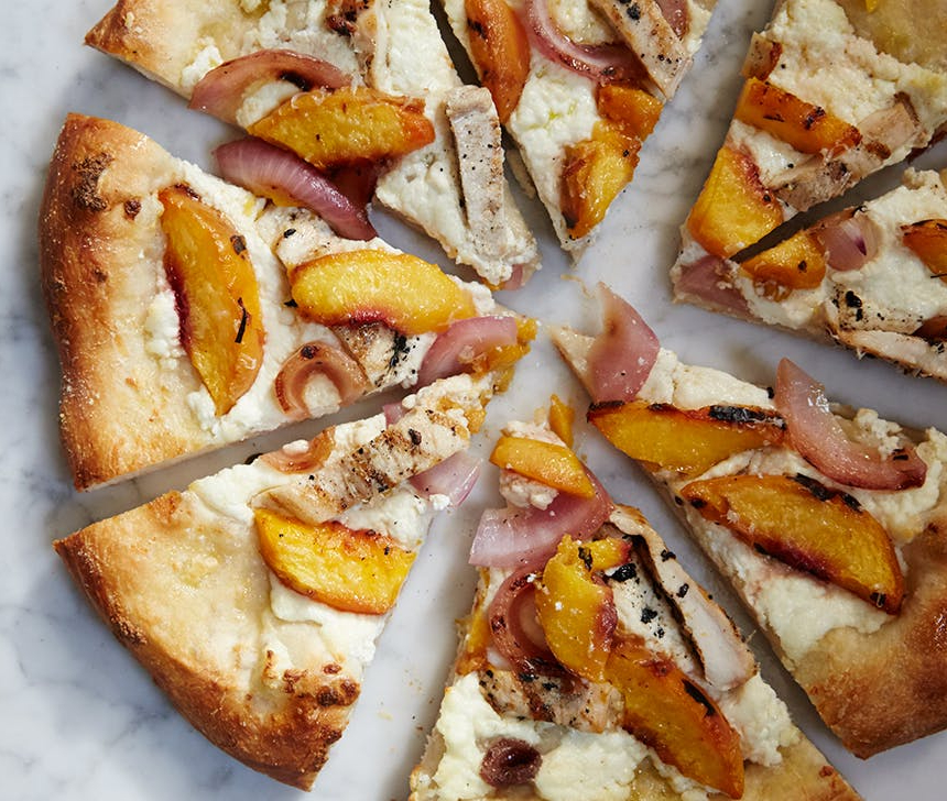 Peach Chicken Ricotta Pizza